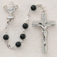ROSARY BLACK GLASS RHODIUM CHALICE C15RB