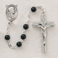 BLACK GLASS STERLING SILVER SACRED HEART ROSARY