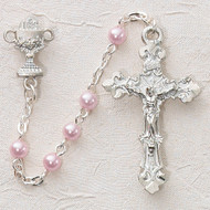 ROSARY PINK PEARL COMMUNION RHODIUM CHALICE‹¯¨