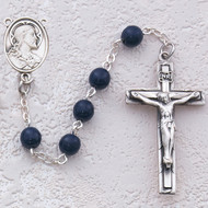 BLUE GLASS STERLING SILVER SACRED HEART ROSARY