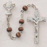 ROSARY BROWN WOOD STERLING SILVER CHALICE