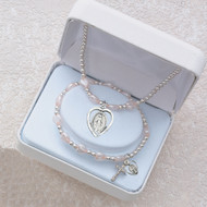 PINK PEARL HEART RHODIUM MIRACULOUS STRETCH BRACELET & PENDANT SET