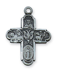 4-WAY PEWTER ANTIQUE SILVER CROSS (BLACK GIFT BOX) AN2210SBK