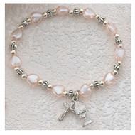 Pink Pearl Heart Stretch Bracelet 276