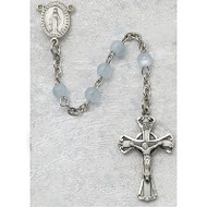 BLUE GLASS PEWTER CHILDREN'S ROSARY 201D-BLG