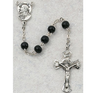 BLACK WOOD CHILDREN'S ROSARY W/STERLING SILVER CRUCIFIX/CENTER 159L-BKG