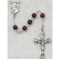BROWN WOOD PEWTER CHILDREN'S ROSARY 159D-BRG