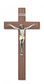 "10"" WALNUT CRUCIFIX WITH TWO TONE CORPUS 80-100"