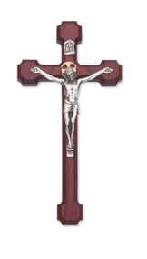 "10"" CHERRY STAINED CRUCIFIX WITH GOLD HALO 79-42492"
