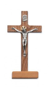 "8"" WALNUT STAINED STANDING CRUCIFIX 80-59"