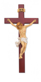 "15"" BEVELED CHERRY STAINED CRUCIFIX WITH HAND PAINTED ITALIAN CORPUS 79-42601--FREE SHIPPING!"