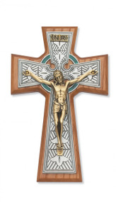 "8-1/4"" WALNUT STAINED CELTIC CRUCIFIX 79-42668"