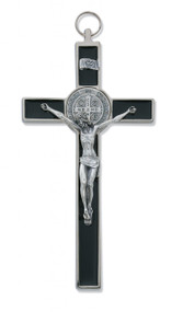 "8"" FINE ITALIAN WITH BLACK EPOXY ST. BENEDICT CRUCIFIX 119-04"