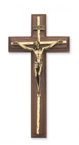 "10"" WALNUT WOOD CRUCIFIX WITH HAMMERED BRASS OVERLAY & SILVER CORPUS 79-15"