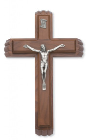 "SICK CALL SET - 13"" WALNUT WOOD CRUCIFIX WITH SILVER CORPUS 80-127"