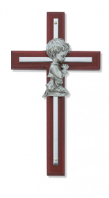 "6"" CHERRY BOY WALL CROSS WITH SILVER OVERLAY 73-25"