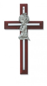 "6"" CHERRY GIRL WALL CROSS WITH SILVER OVERLAY 73-24"