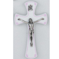 "7"" BABY WALL CRUCIFIX WITH PINK TRIM 79-67"