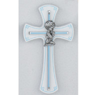 "7"" BLUE BOY WALL CROSS ON WHITE WOOD 73-10"