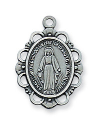 MIRACULOUS MEDAL PEWTER ANTIQUE SILVER AN572