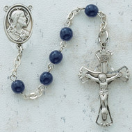 BLUE GLASS RHODIUM SACRED HEART ROSARY
