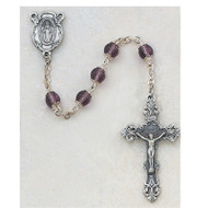 AMETHYST CAPPED GLASS ROSARY 264 S/F