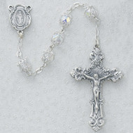 CRYSTAL AB CAPPED ELEGANT GLASS ROSARY 701S-CRF