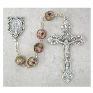 PINK REAL CLOISONNE ELEGANT GLASS ROSARY 765S/F