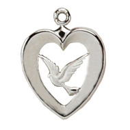 HEART WITH DOVE STERLING SILVER L638