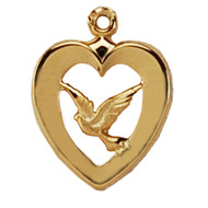 HEART WITH DOVE GOLD OVER STERLING SILVER