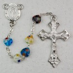 MULTI MURANO HEART RHODIUM ROSARY