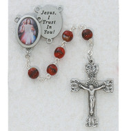 RED DIVINE MERCY PEWTER ROSARY R254DF