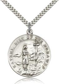 St. Kateri Sterling Silver Medal 5898-bliss