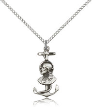 Christ With Anchor Sterling Silver Medal 5645-bliss