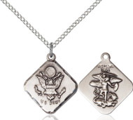 St. Michael Army Diamond Sterling Silver Medal