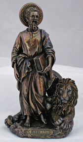 St. Mark the Evangelist with Lion Statue, Cold-cast Bronze