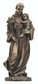 St. Anthony and Child Statue, cold cast bronze
