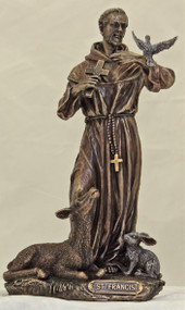 St. Francis Statue with Animals (bronze or pewter)