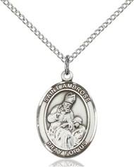 St. Ambrose Sterling Silver Medal 8137-bliss