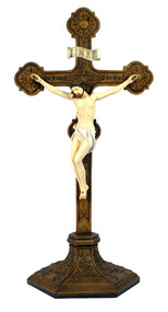 Standing Ornate Crucifix (bronze, pewter, color)