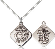 St. Michael Marines Diamond Sterling Silver Medal
