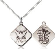 St. Michael Navy Diamond Sterling Silver Medal