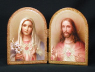 Sacred & Immaculate Hearts Florentine Diptych - Made in Italy