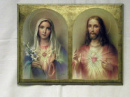Sacred Heart of Jesus & Immaculate Heart of Mary Florentine Wall Plaque
