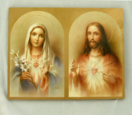 Immaculate Heart of Mary & Sacred Heart of Jesus Florentine Wall Plaque