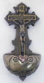 Crucifixion Holy Water Font (bronze or color)