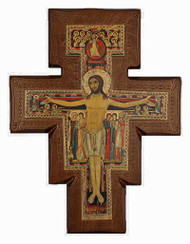 San Damian Walnut Stained Cross - Made in Italy