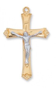 GOLD & SILVER TUTONE CRUCIFIX JT8073