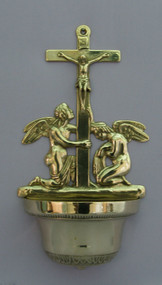 Crucifixion Angel Brass Holy Water Font