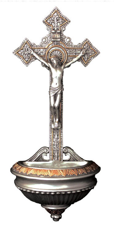 Crucifixion Holy Water Font (bronze, color, pewter)
